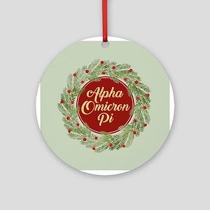 Alpha Omicron Pi Round Ornament