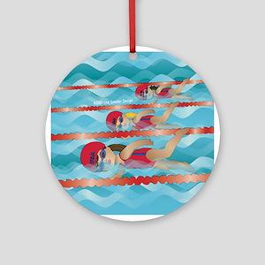 Little Swimmer Girls Ornament (Round)