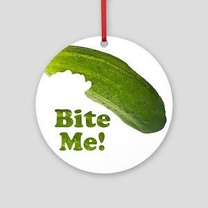 Bite Me! Pickle Ornament (Round)