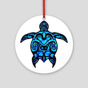 Black Tribal Turtle Ornament (Round)