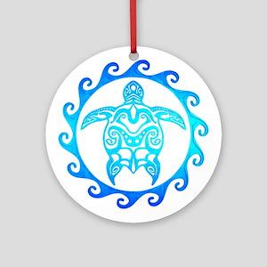 Blue Tribal Turtle Sun Ornament (Round)