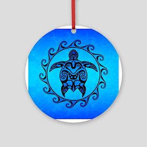 Maori Ocean Blue Turtle Ornament (Round)