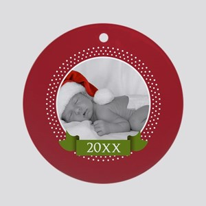 Photo Frame with Year Red Ornament (Round)