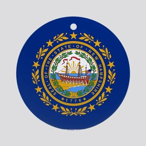 New Hampshire State Flag Round Ornament