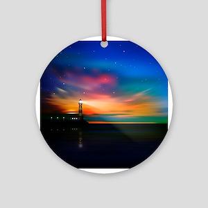Sunrise Over The Sea And Lighthouse Ornament (Roun
