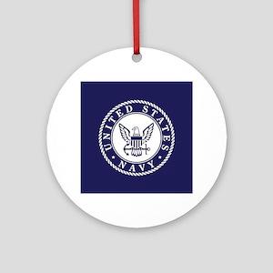 US Navy Emblem Blue White Round Ornament
