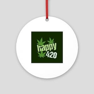 Happy 420 Marijuana Round Ornament