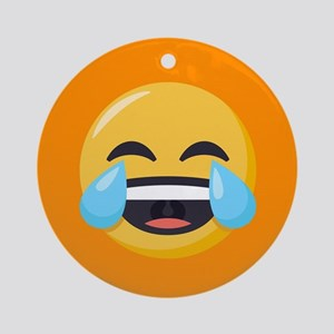 Crying Laughing Emoji Round Ornament