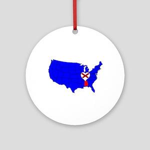State of Alabama Round Ornament