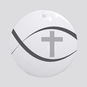 jesus fish_reverse Ornament (Round)