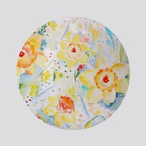 Watercolor yellow flowers daffodils Round Ornament
