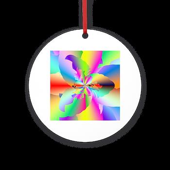 Fractal Fire Flower Round Ornament