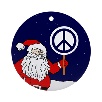 Peace Christmas Sign.Santa Peace Sign Christmas Ornament Ornaments For Peace