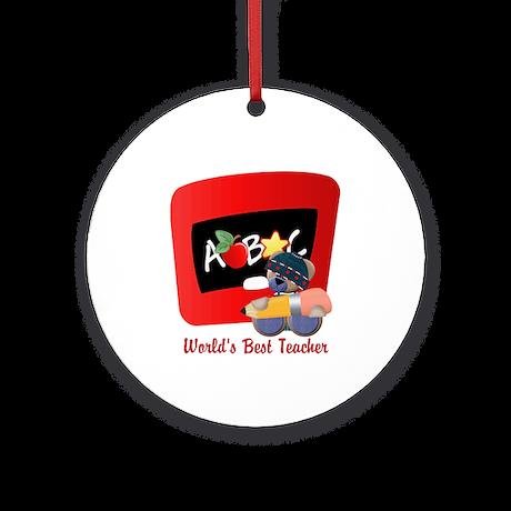 Teacher TeddyBear Ornament (Round)