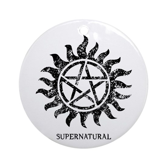 Supernatural Grunge Tattoo Bl Ornament Round By Cat Cafepress