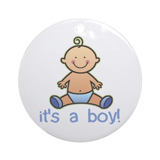 New Baby Boy Cartoon Ornament Round By Koncepts Cafepress