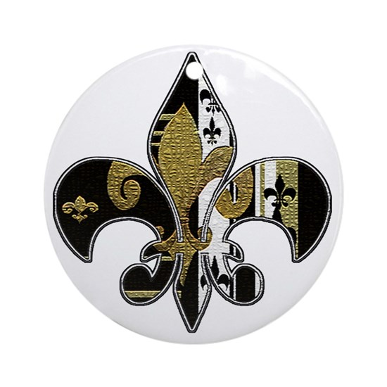 Fleur de lis bling black and gold