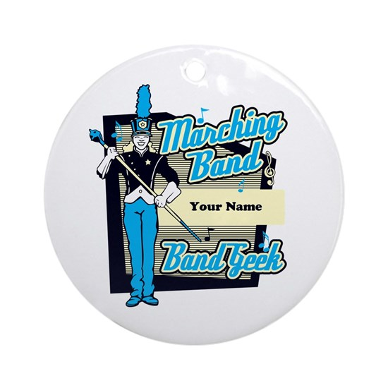 Custom Marching Band Geek( Light Blue) Ornament (R