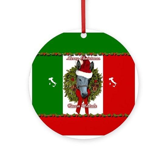 Buon Natale Ornament.Donkey Buon Natale Christmas Ornament Round