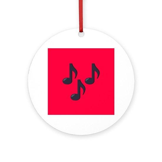 Music Notes Emoji Round Ornament