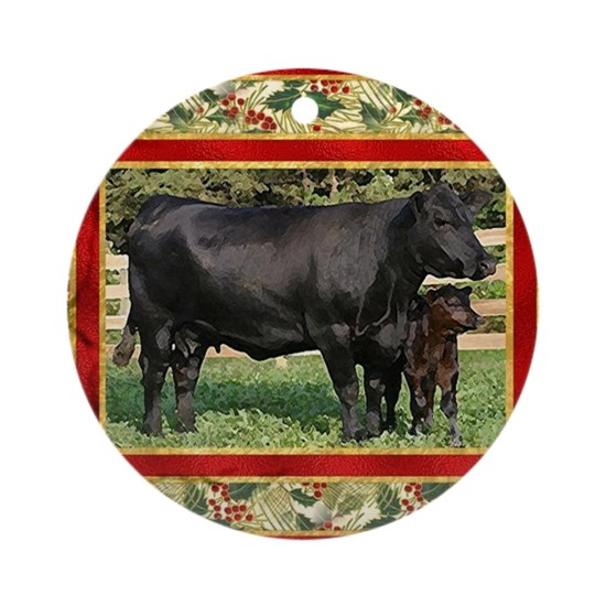 Black Angus Cow Calf Christmas Car Round Ornament By