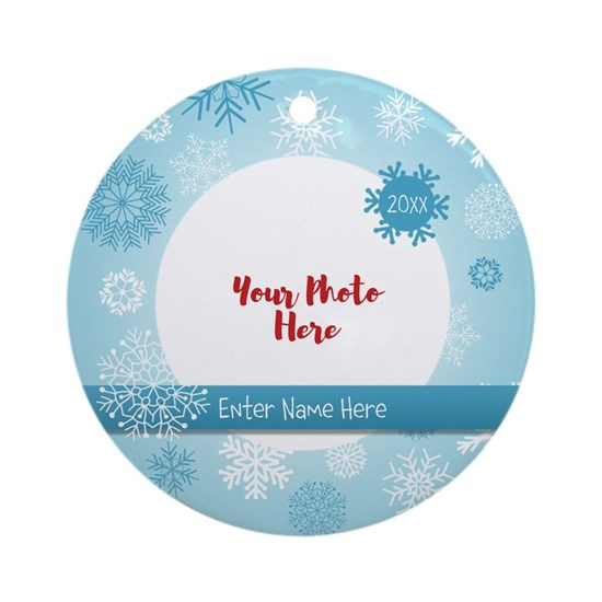 Snowflake Personalized Round Ornament