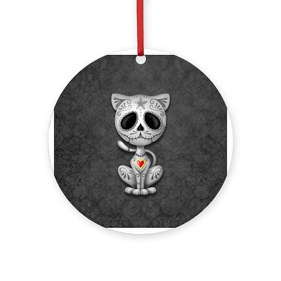 Gray Zombie Sugar Skull Kitten