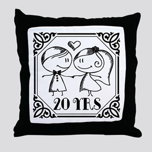 20th Anniversary Gift for Couples Throw Pillow