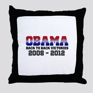 Obama Back to Back Victory Throw Pillow