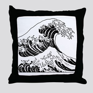 great_wave_black_10x10 Throw Pillow