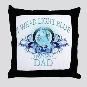 I Wear Light Blue for my Dad (floral) Throw Pillow
