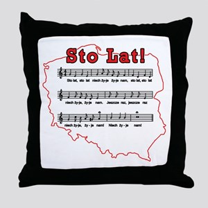 Sto Lat! Song Polish Map Throw Pillow