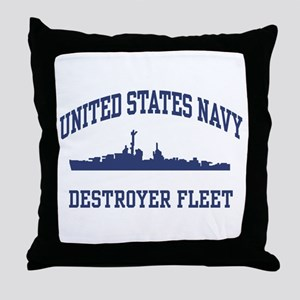 Navy Destroyer Throw Pillow
