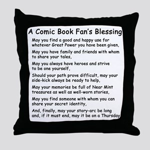 comicbookfanblessingblack Throw Pillow