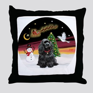 R-NightFlight-BlackCocker Throw Pillow