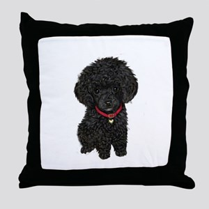 Poodle pup (blk) Throw Pillow