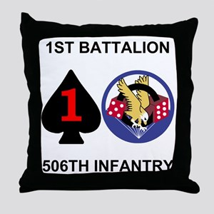 2-Army-506th-Infantry-1st-Bn-Shirt-Ba Throw Pillow