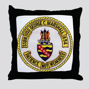 uss george c. marshall patch transpar Throw Pillow