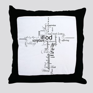 Christian cross word collage Throw Pillow
