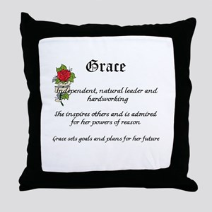 Grace name meaning Throw Pillow