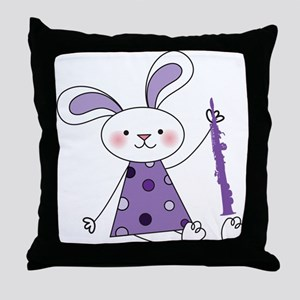 Oboe Music Bunny Throw Pillow