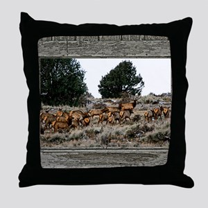 Old Cabin Window elk herd Throw Pillow