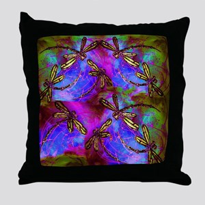 Dragonfly Hippy Flit Throw Pillow