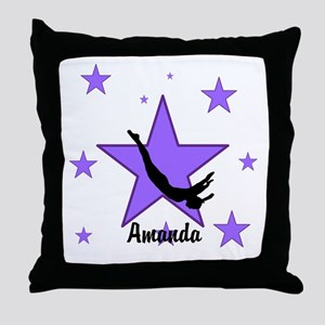 Purple Trampoline Star Throw Pillow