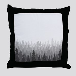 Gray Forest Throw Pillow