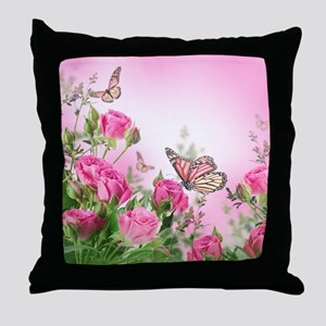 Butterfly Flowers Throw Pillow