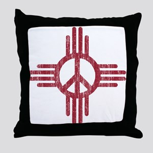 New Mexico Peace Sign Throw Pillow