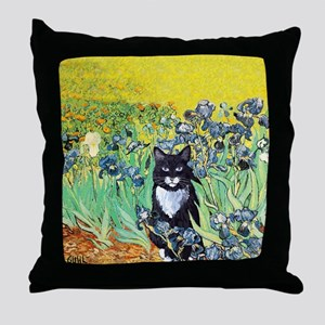 Irises & Cat Throw Pillow