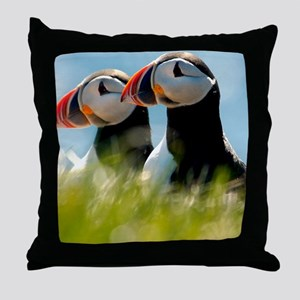 Puffin Pair 14x14 600 dpi Throw Pillow