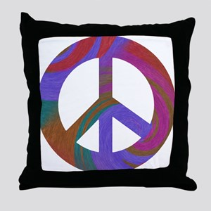 Peace Sign Swirl Throw Pillow